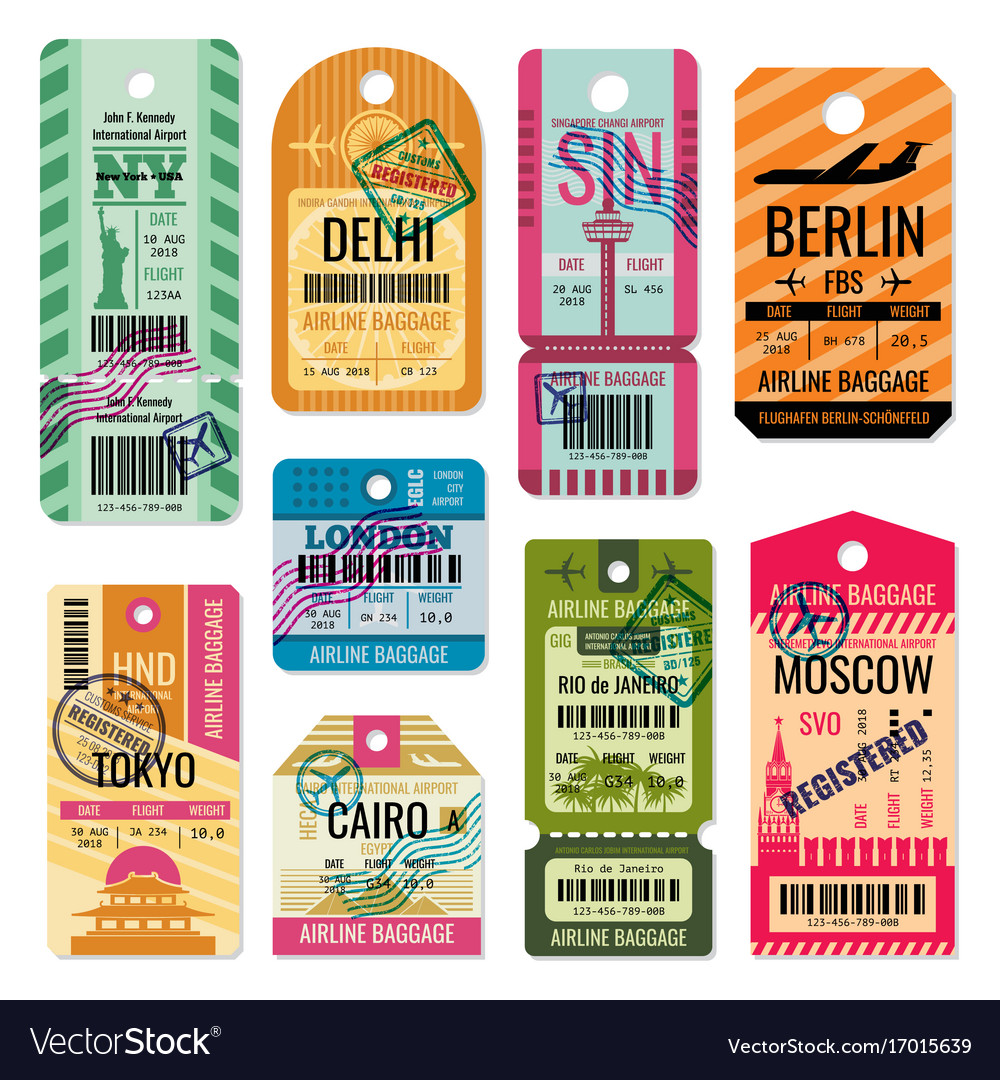 Vintage baggage tags and luggage labels set vector image
