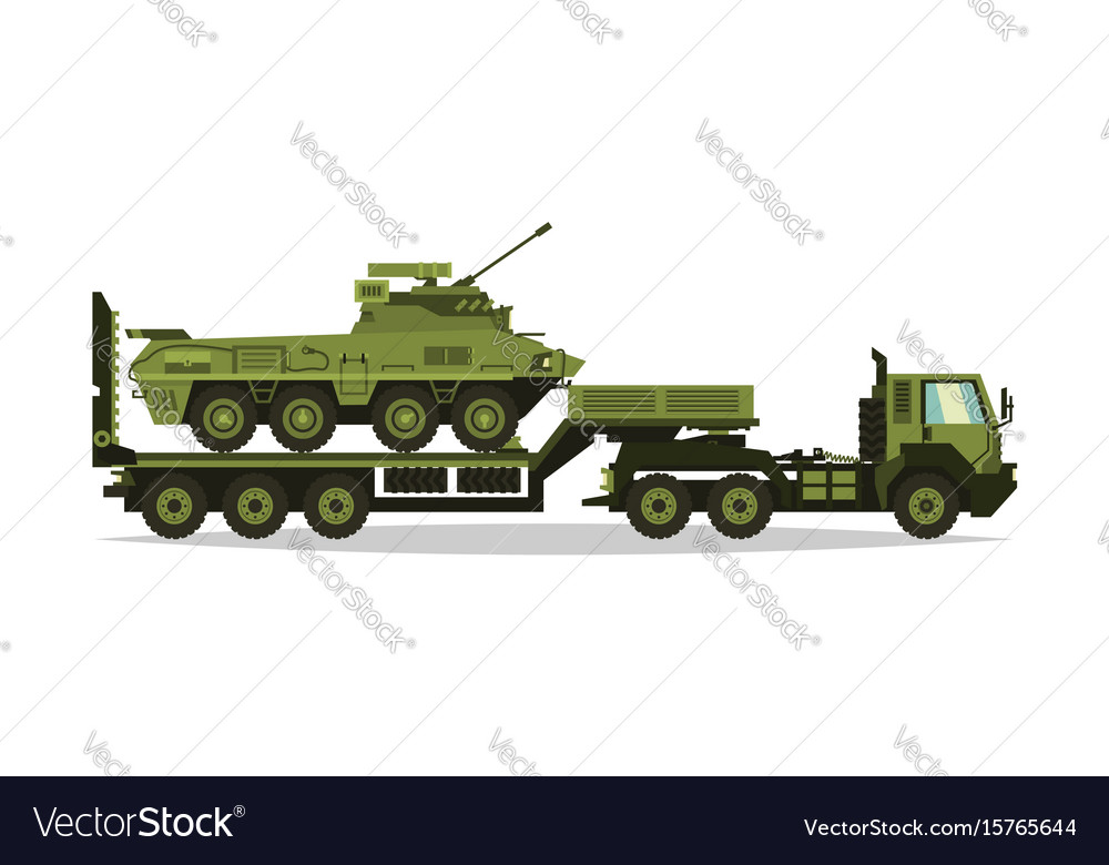 A military truck carries an armored personnel
