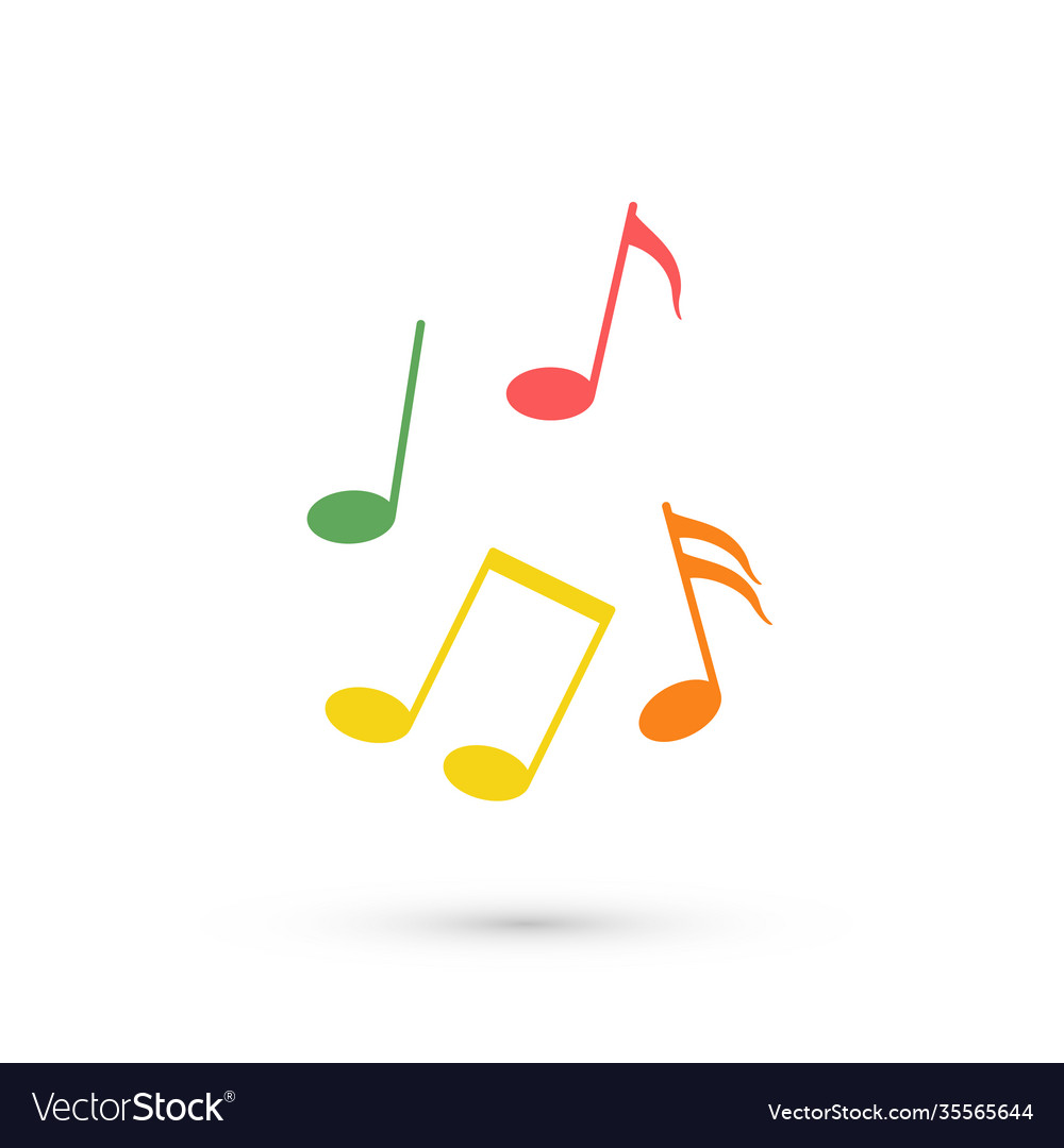 Abstract music background with color notes