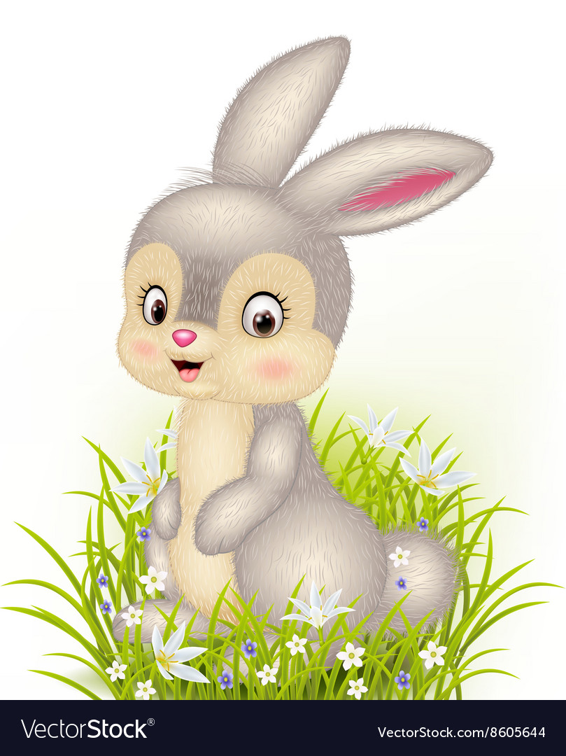 Cartoon little bunny sitting on grass background
