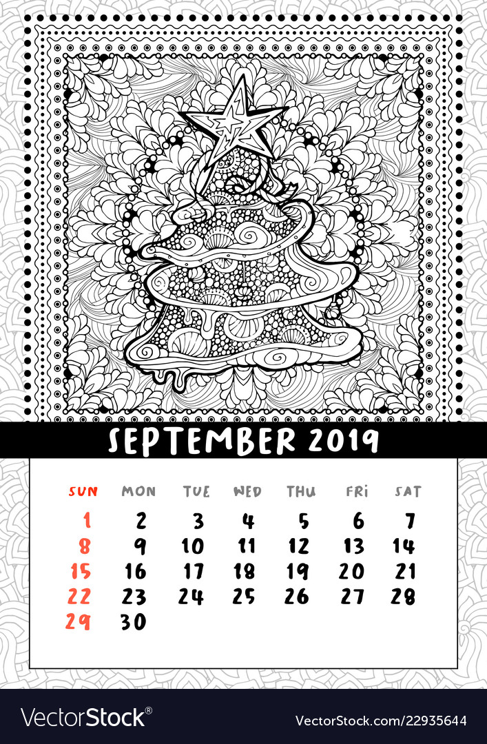Christmas tree doodle pattern calendar september