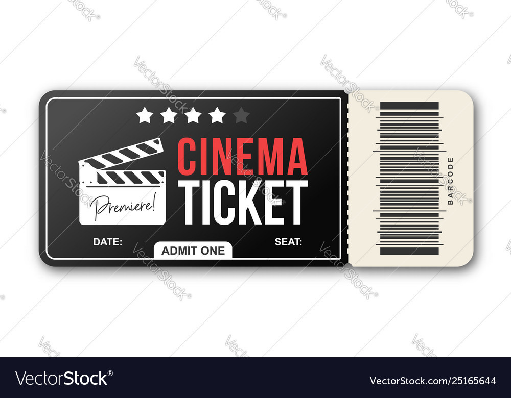 Cinema ticket on white background movie ticket