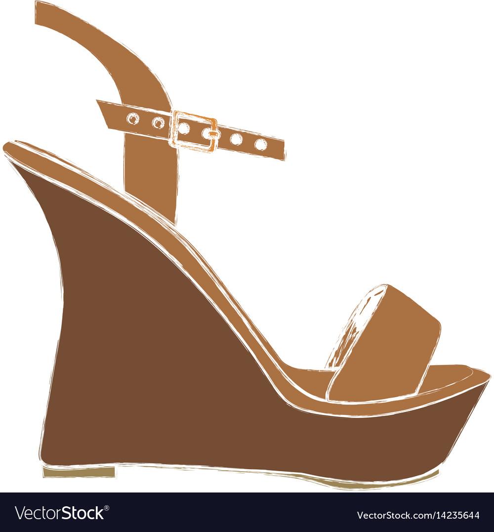Color sketch of sandal shoe with platform sole