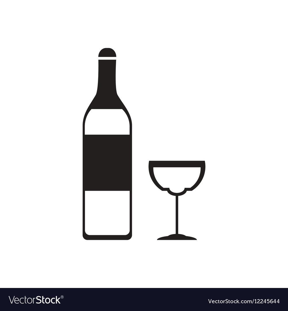 flat icon in black and white glass wine bottle vector image rh vectorstock com wine bottle vector shape wine bottle vector free download