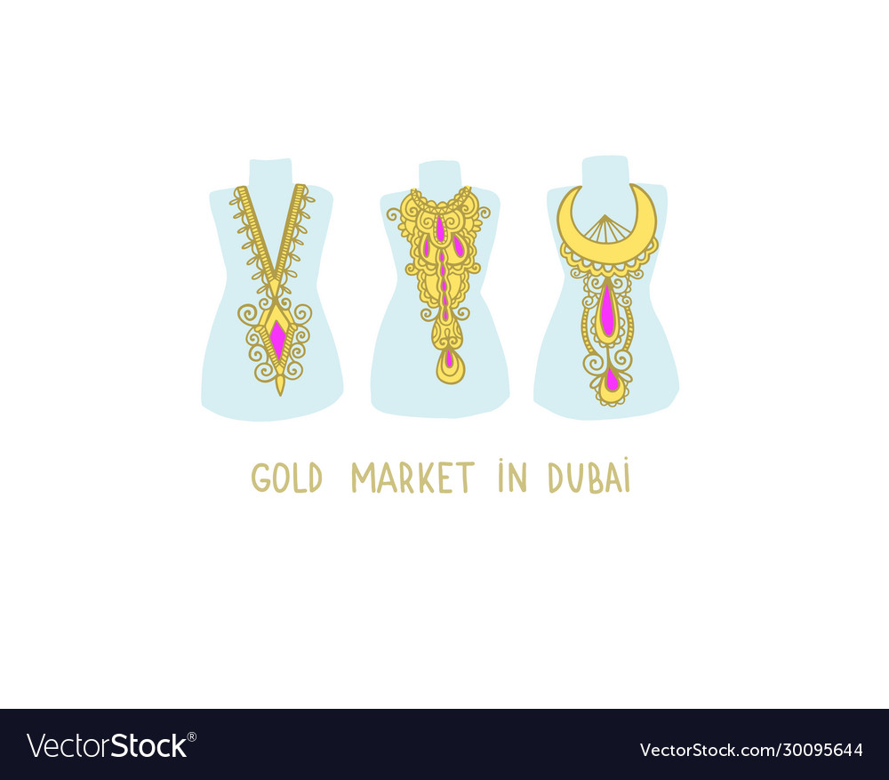 Gold market in dubai - hand drawing flat style