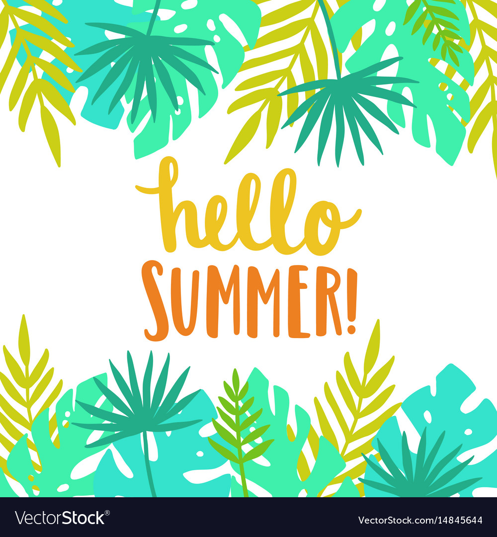 Hello summer bright and beautiful card template