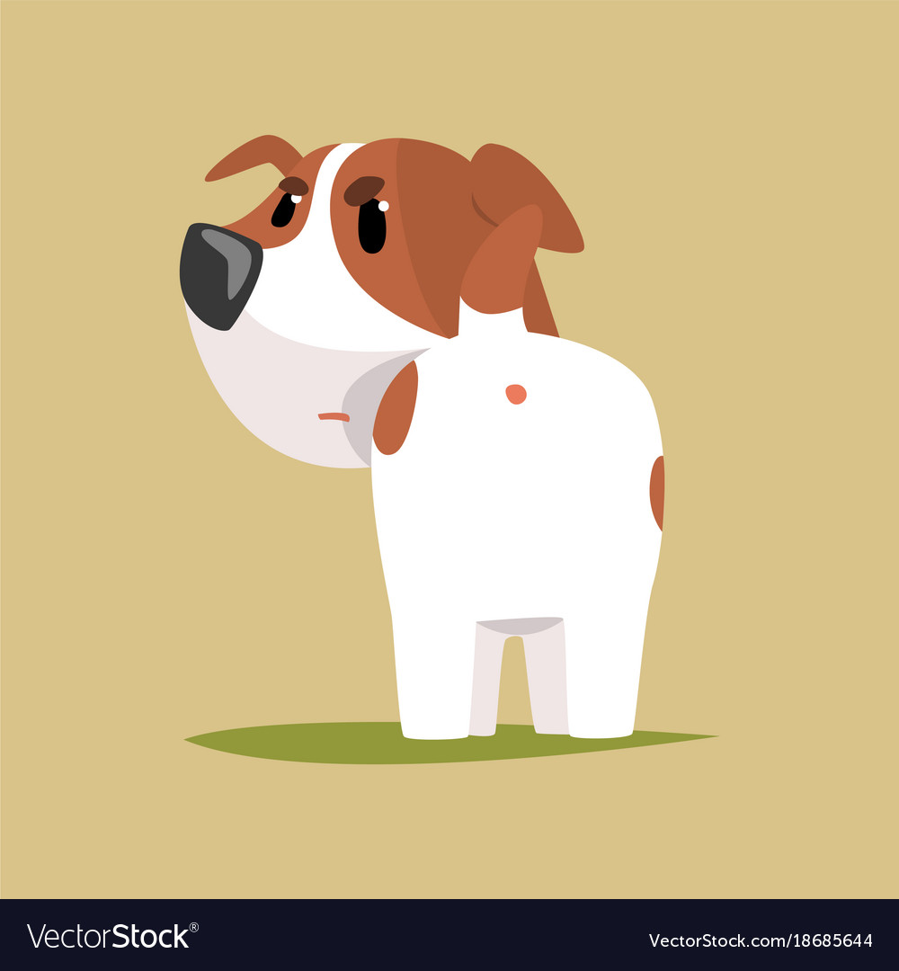 Jack russell puppy character back view cute funny