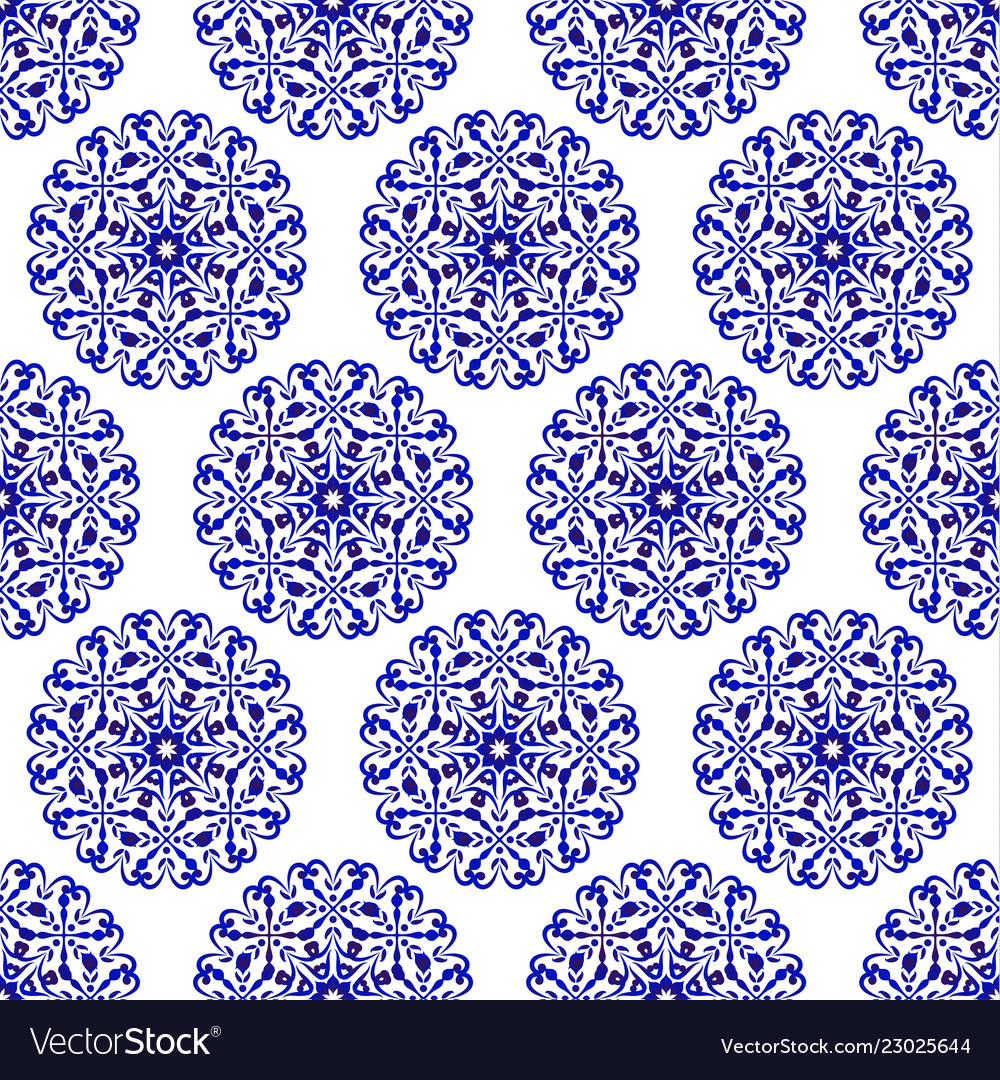 Porcelain Chinese Blue Pattern Royalty Free Vector Image