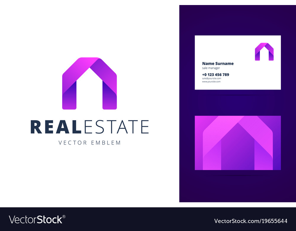 Real estate logo template with business card