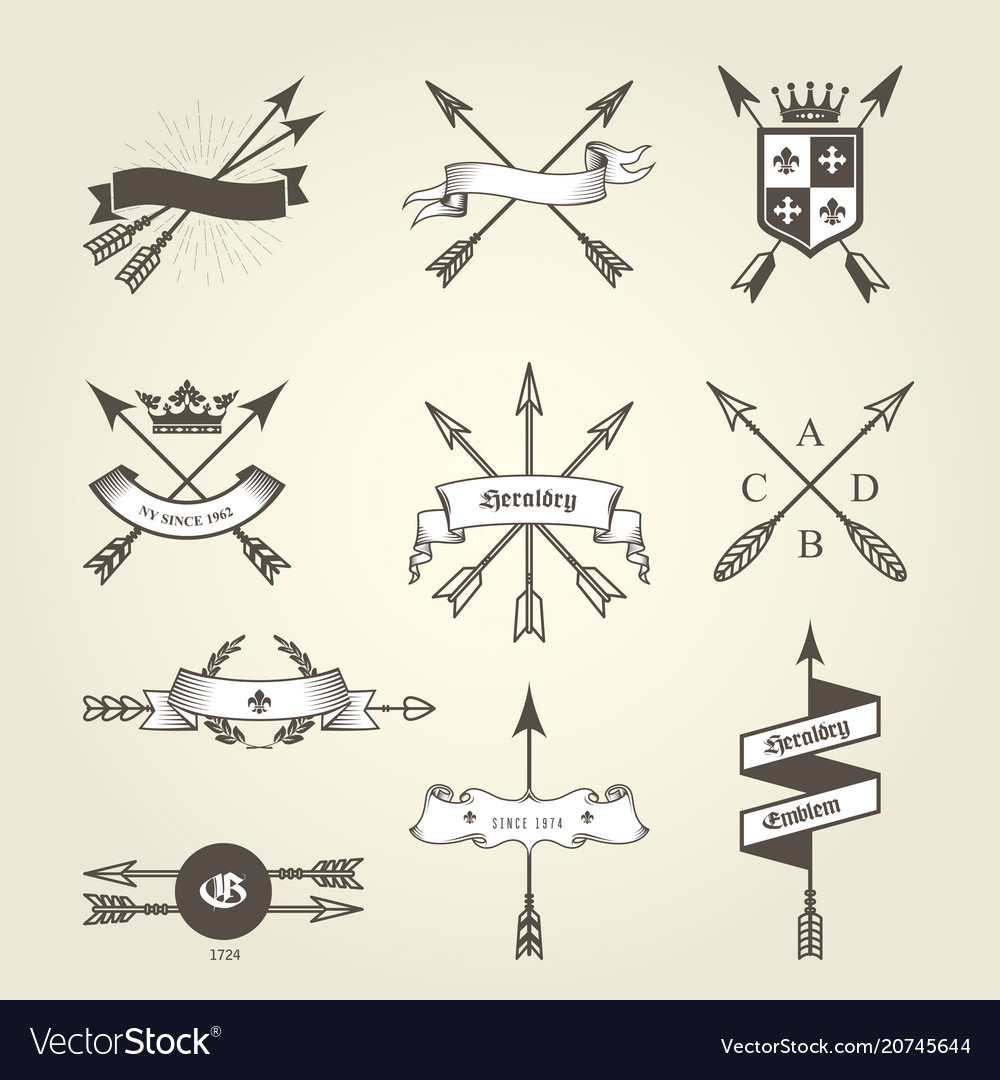 Set of coat of arms with bow arrows - emblems