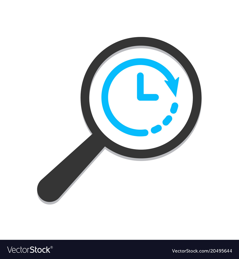 time clock icon magnifying glass royalty free vector image