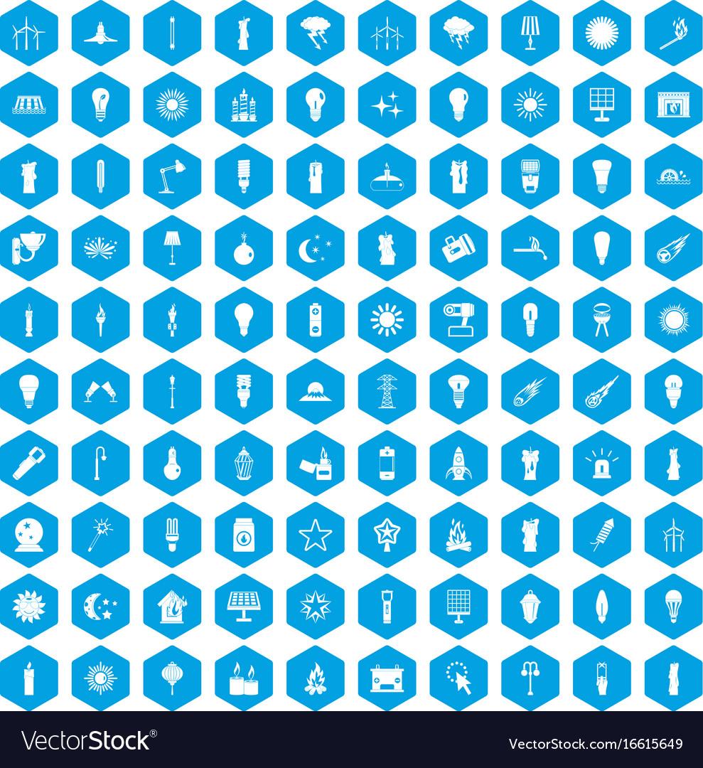 100 light source icons set blue
