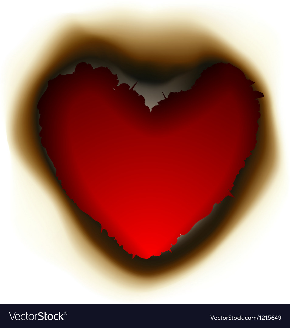 Burnt hole in shape of heart