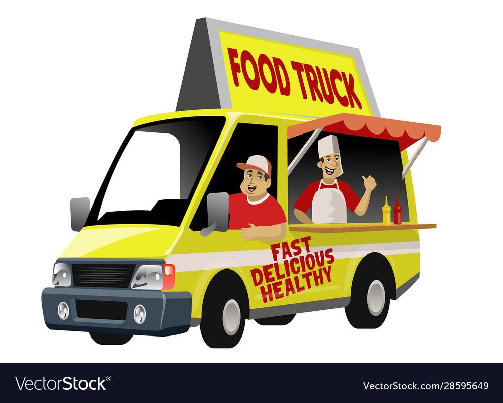 Cartoon foodtruck with crew
