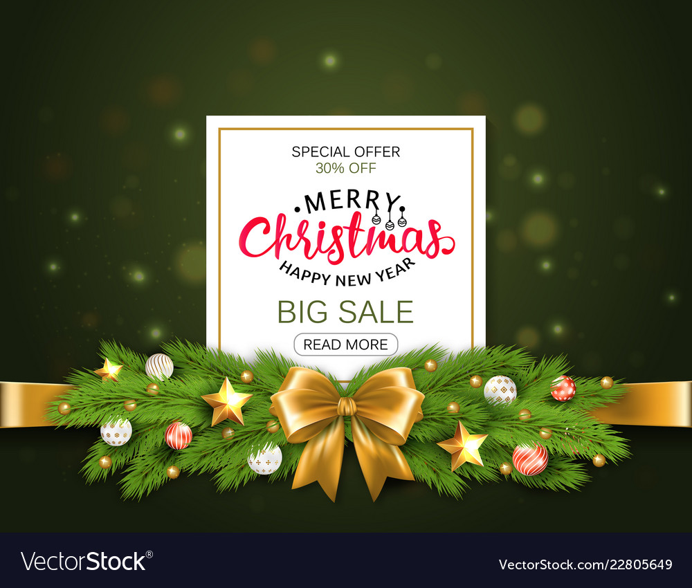 Christmas sale banner realistic fir-tree branches