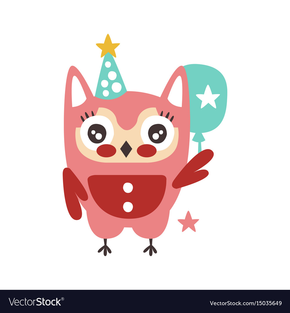 Cute cartoon owl bird in a party hat with balloon vector image
