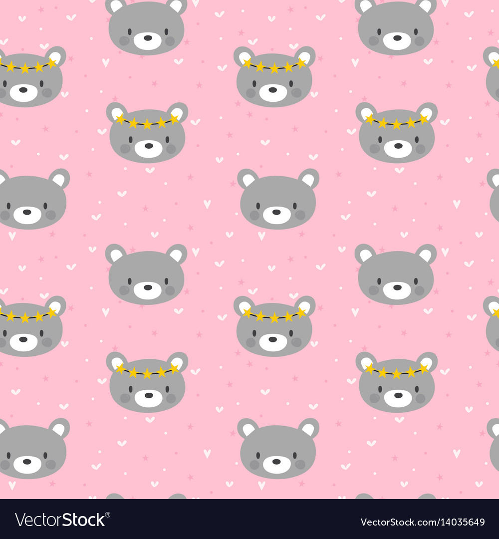 Cute seamless pattern for little girls with funny