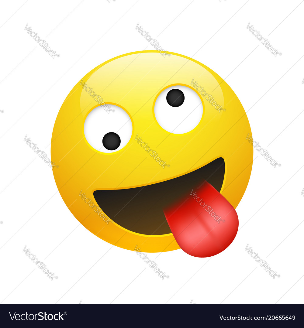 Emoji yellow smiley crazy face vector image