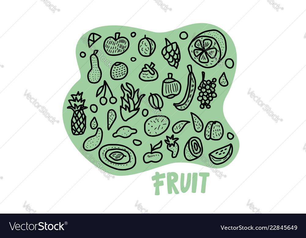 Fruit concept in doodle style
