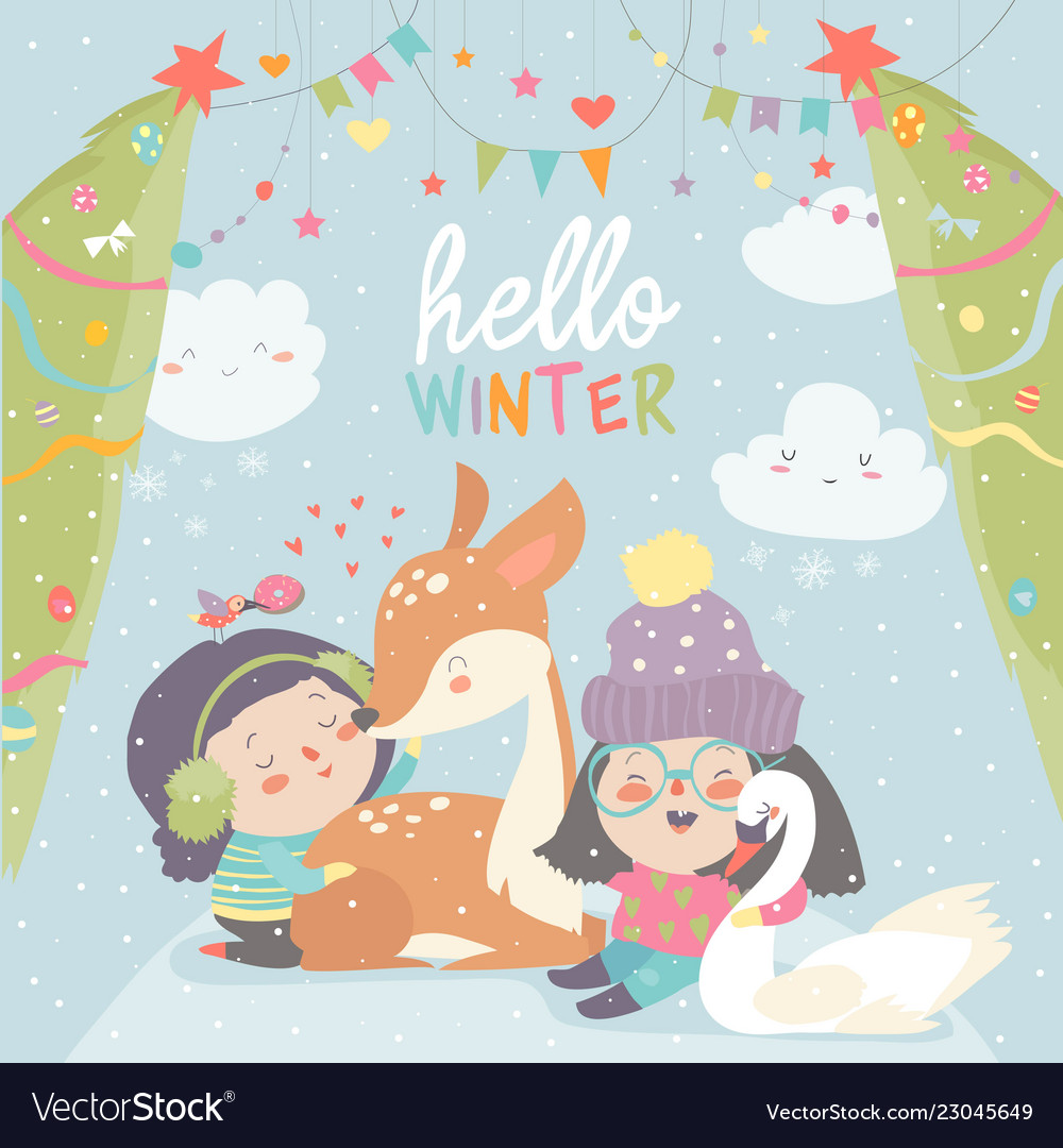 43a0ae4f180c Funny cartoon girls with cute deer in winter Vector Image