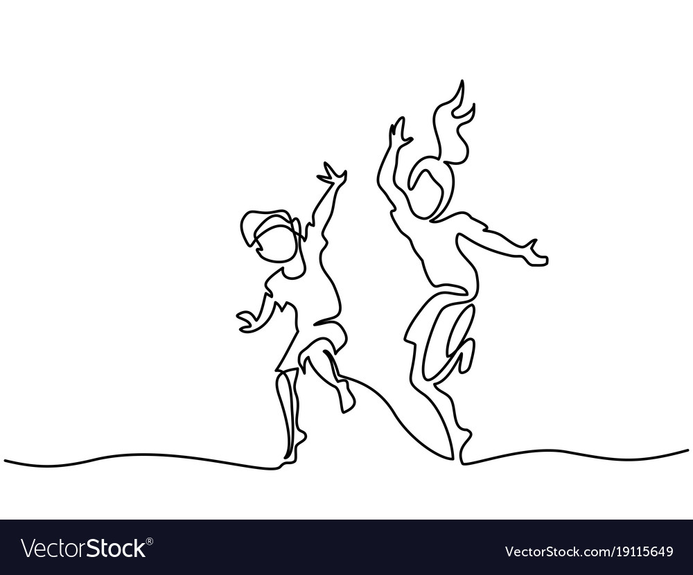 Happy jumping and dancing children vector image