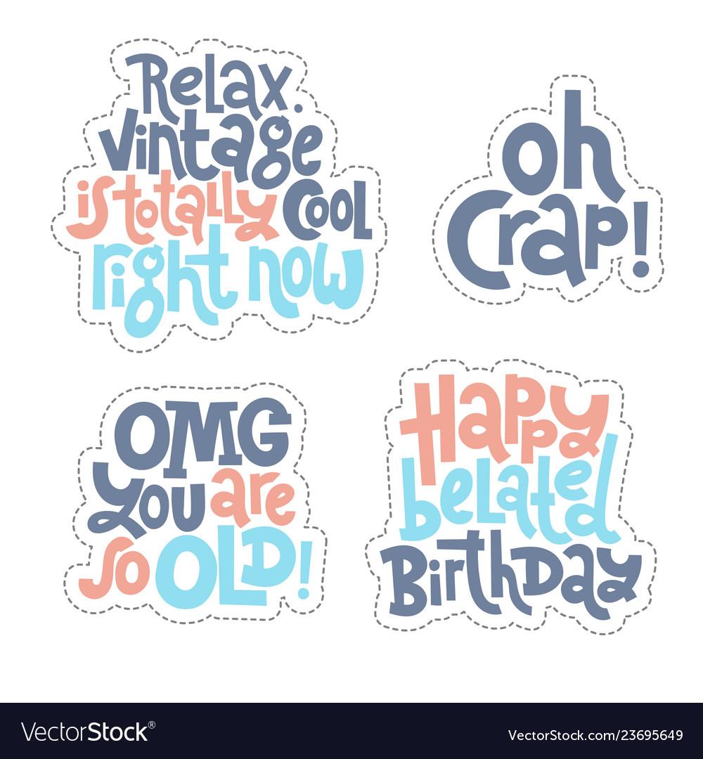 Irreverent birthday sticker set design template