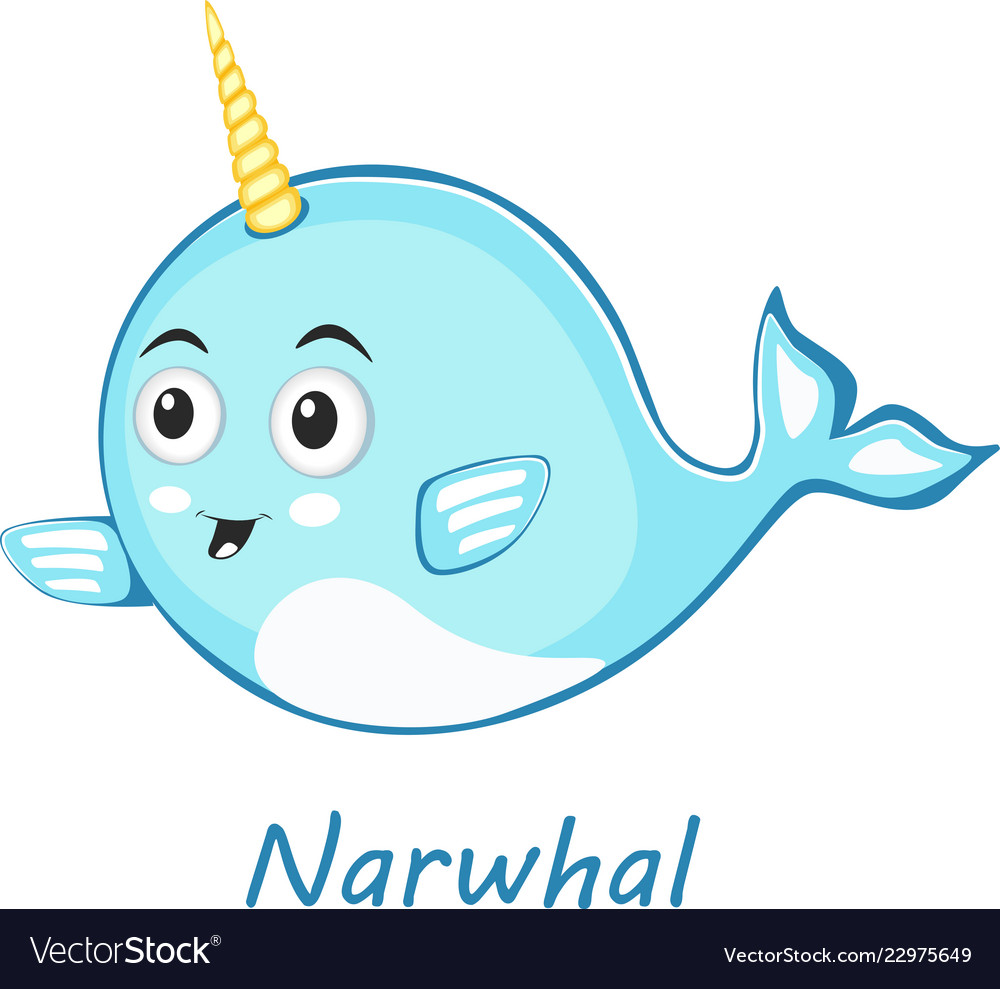 Narwhal cute character in cartoon style drawing
