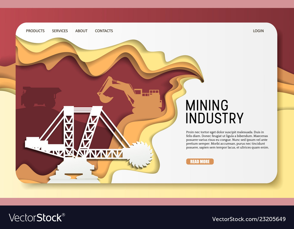 Paper cut mining industry landing page