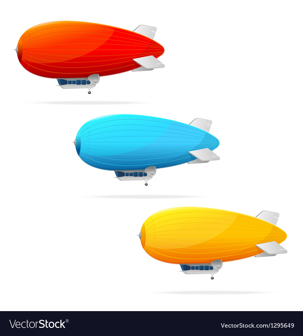 Set of dirigible balloon and text vector image