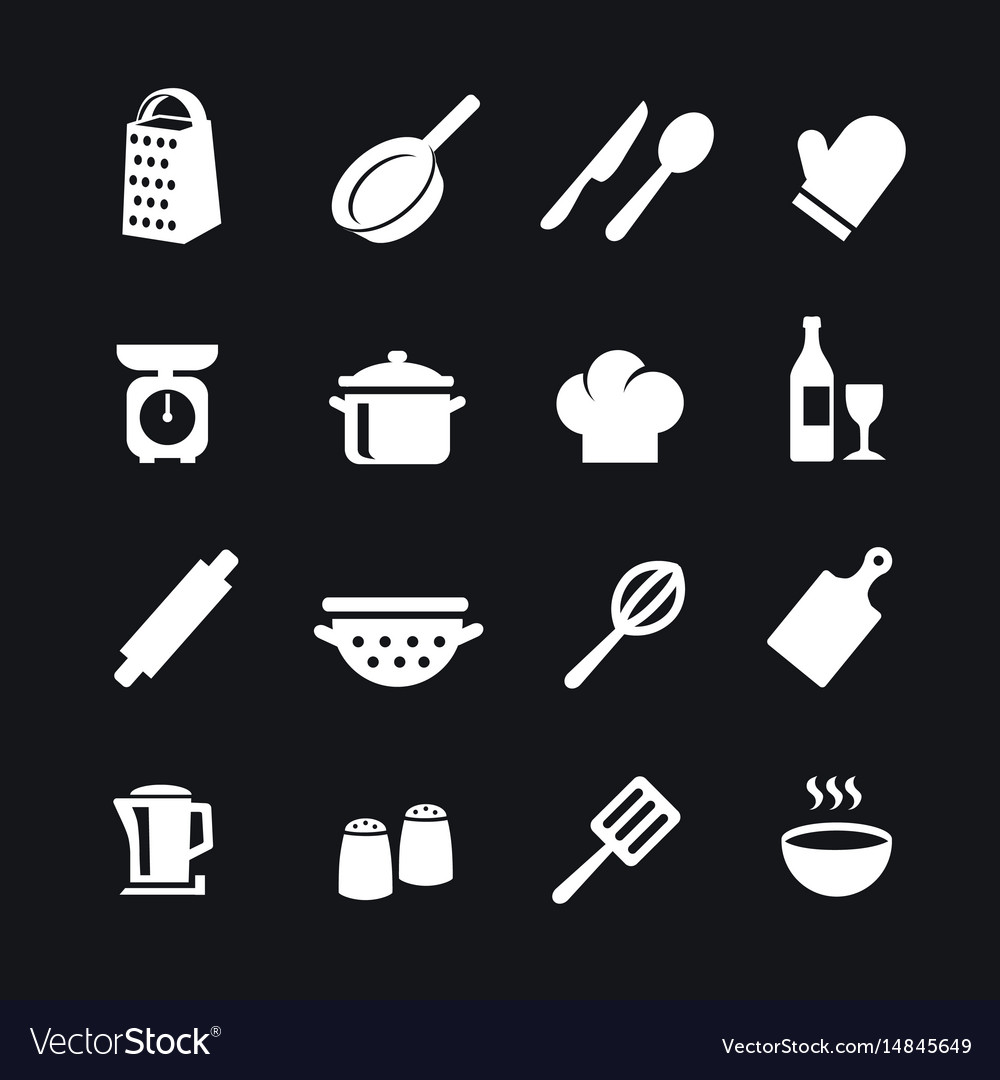 Set of kitchen tools silhouettes icons
