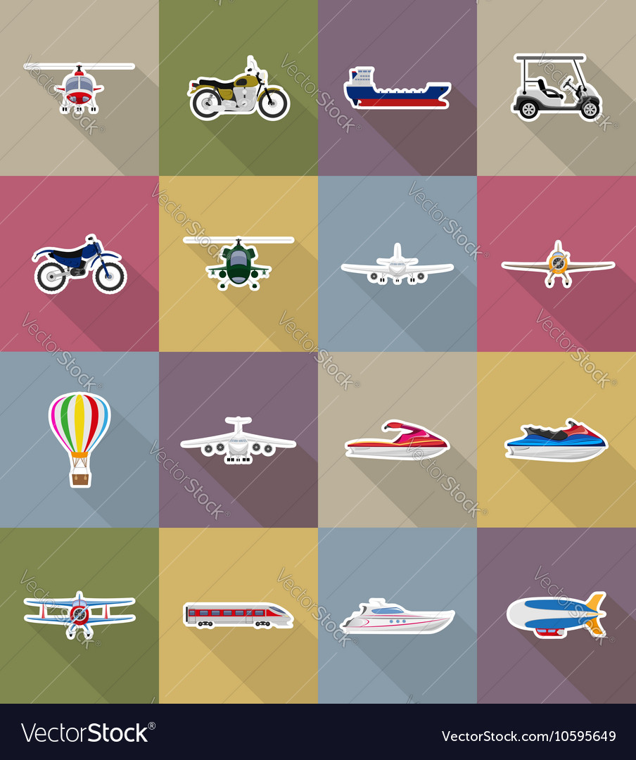 Transport flat icons 78 vector image