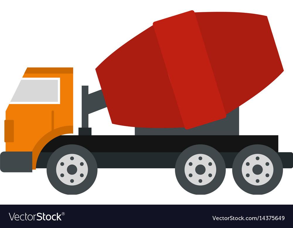 Truck concrete mixer icon isolated vector image
