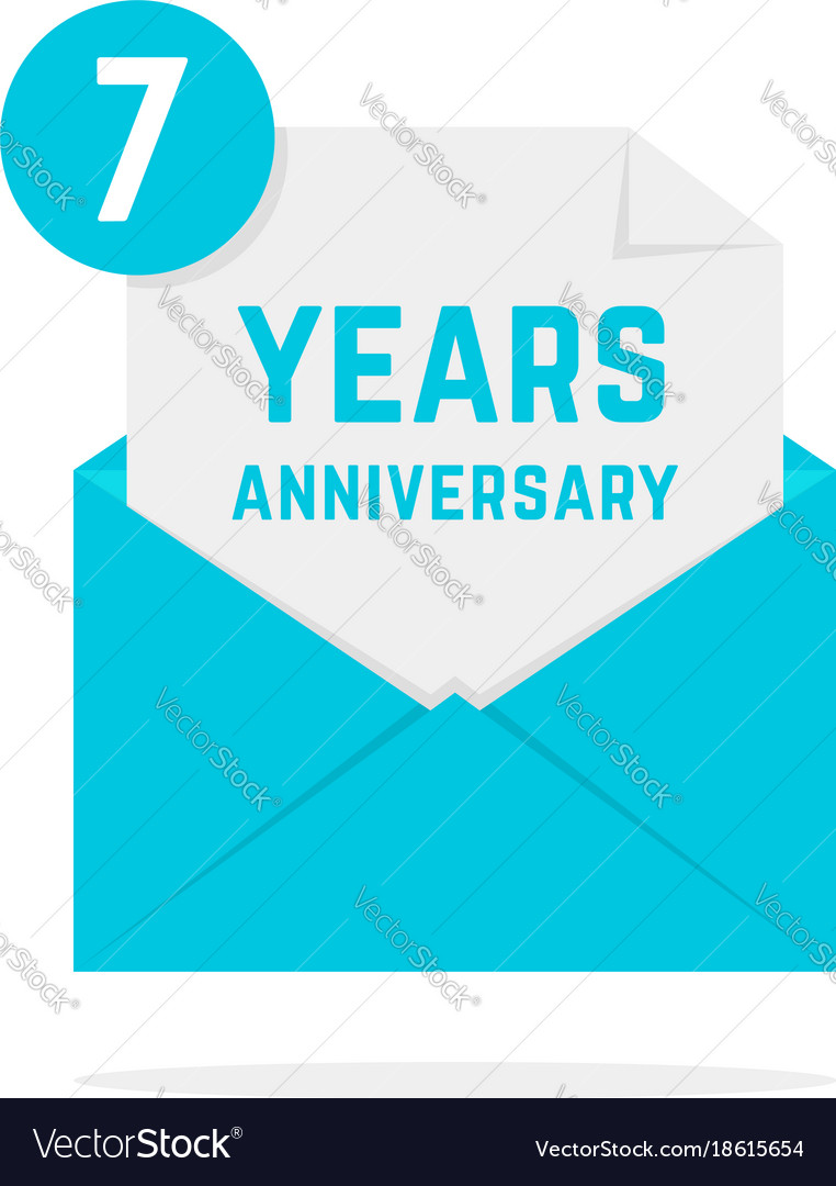 7 years anniversary icon in turquoise letter
