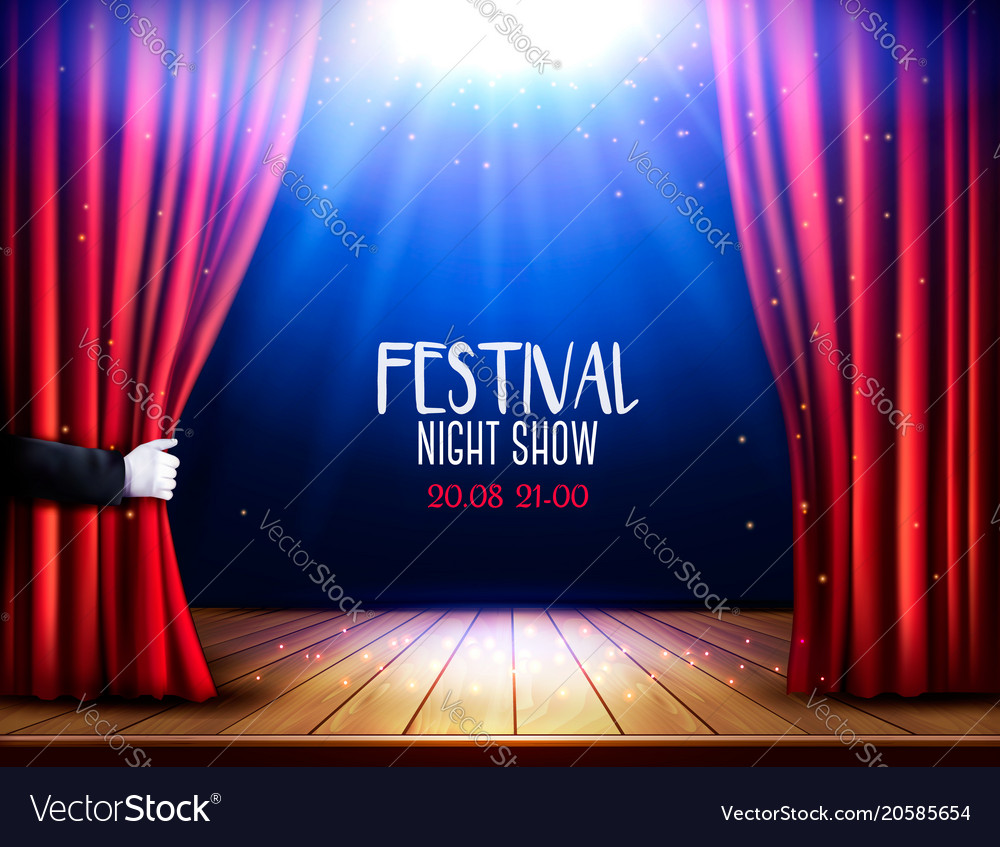 A theater stage with a red curtain and hand Vector Image