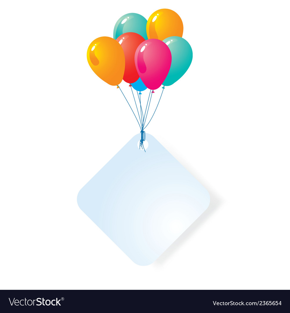 Balloon with blank card vector image