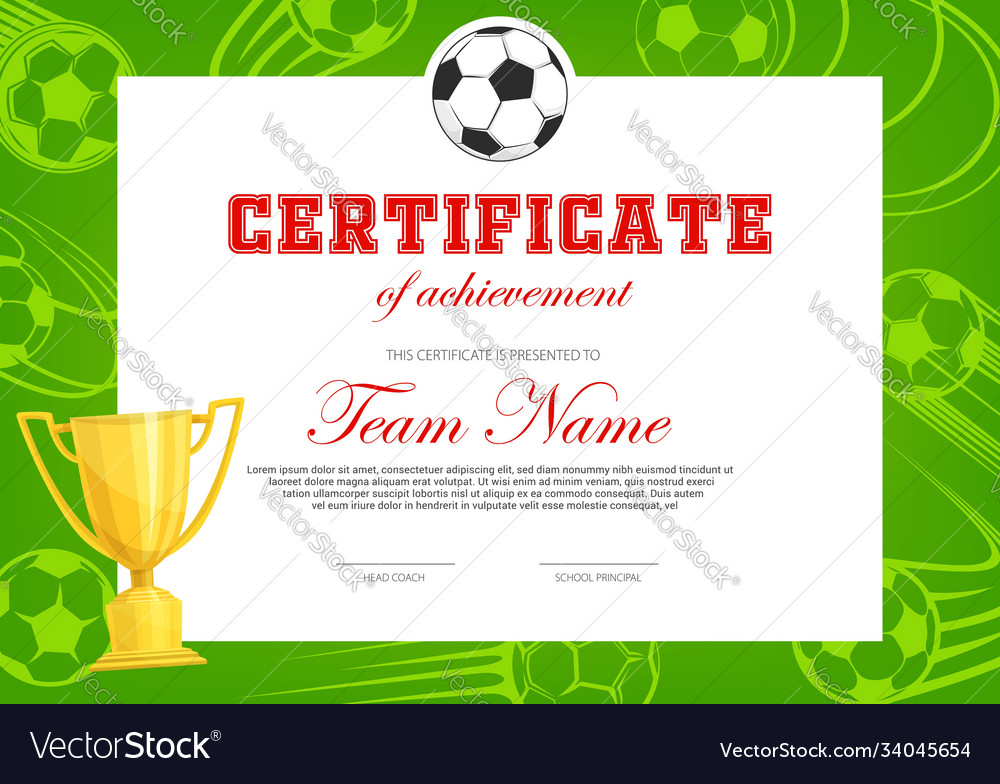 Certificate achievement in soccer football game