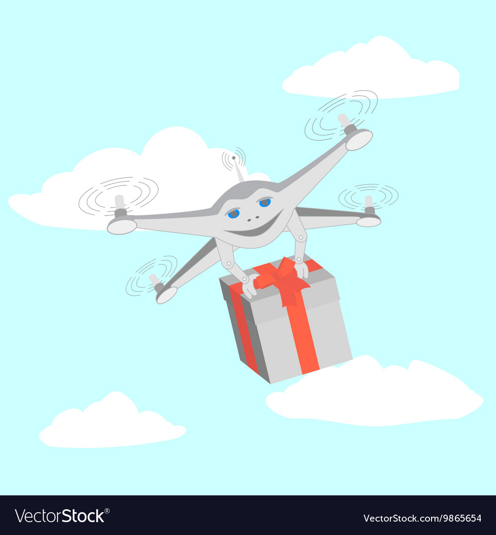 Drone delivers gifts Sky clouds vector image