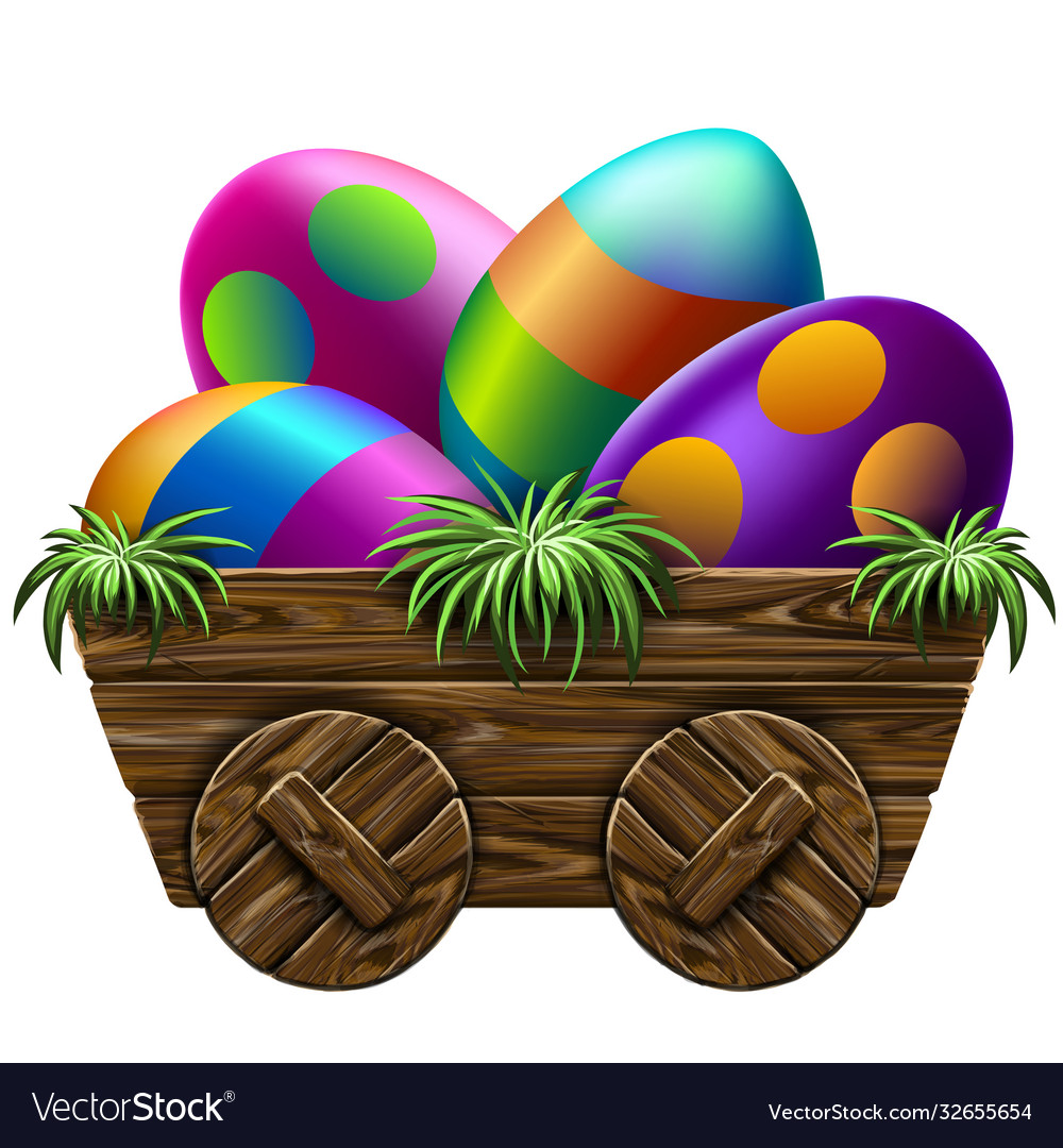 Easter easter eggs in a wooden cart