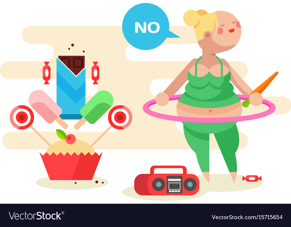Fat girl with a hoop vector image