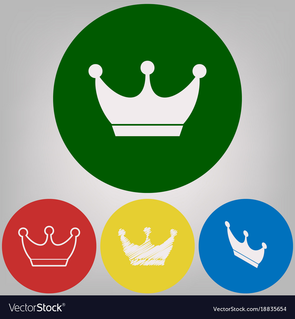 King Crown Sign 4 White Styles Of Icon At Vector Image