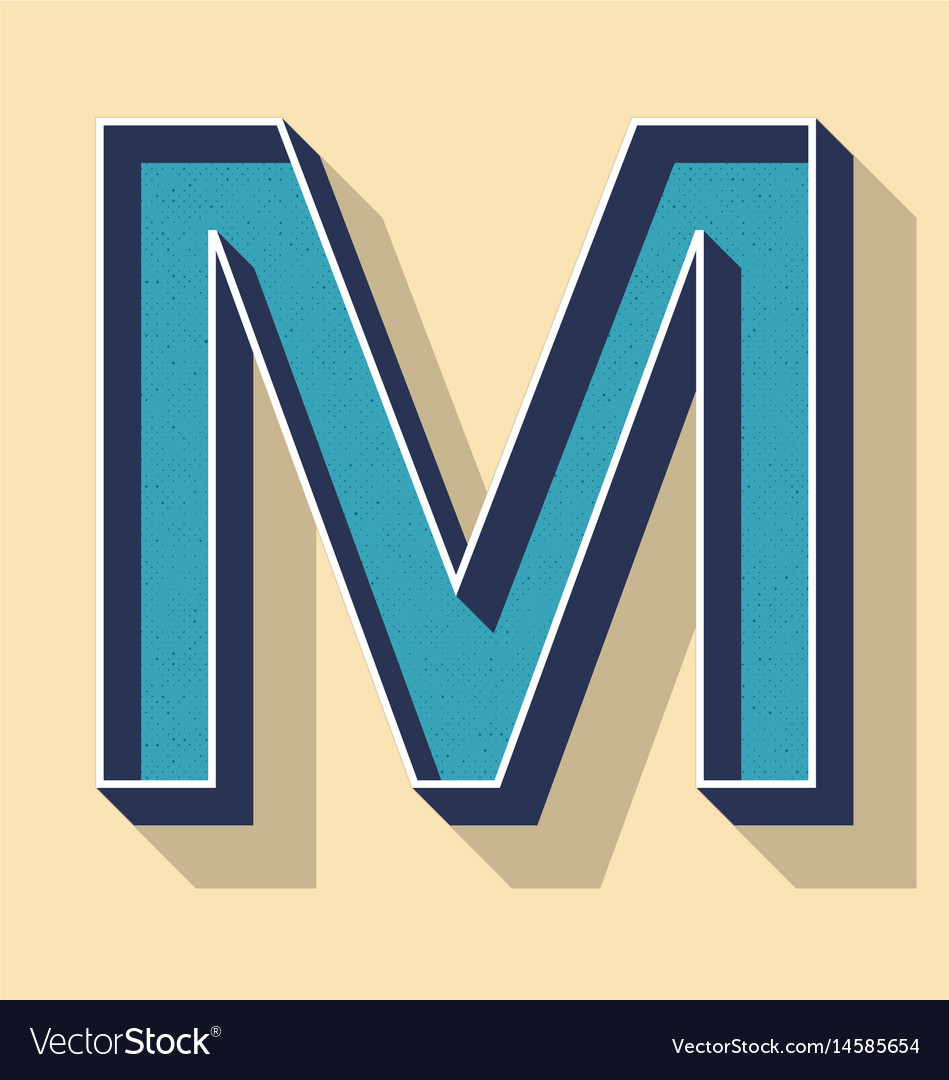 Letter M Retro Text Style Fonts Concept Royalty Free Vector