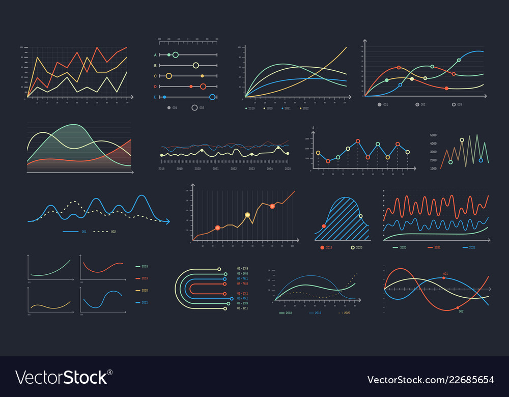 Line graph linear chart growth business diagram