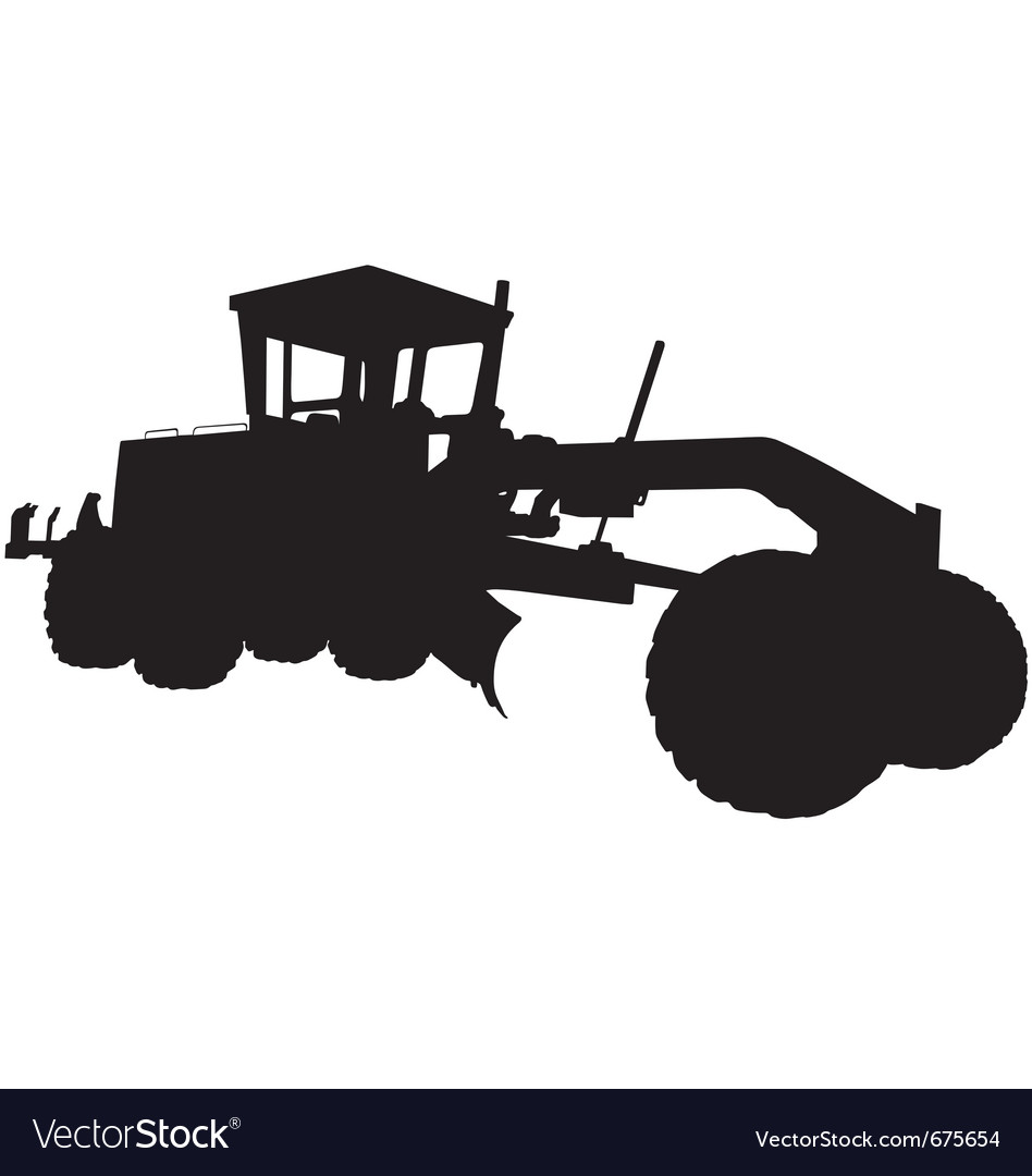 Motor Road Grader Silhouette Royalty Free Vector Image