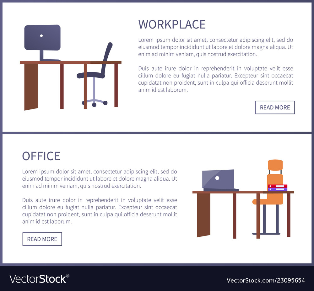Office workplace web posters set with empty tables
