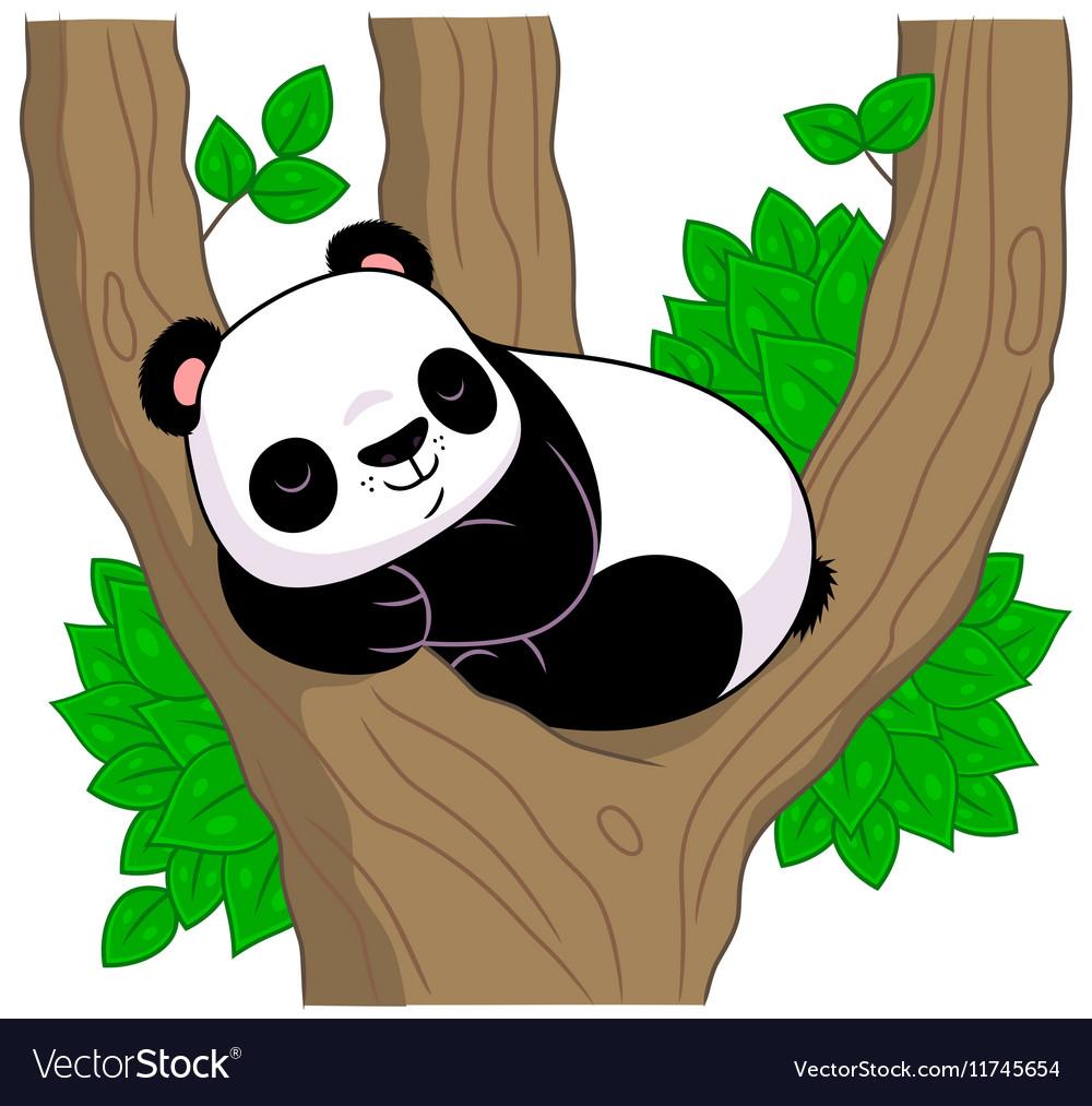 Panda sleeps on the tree