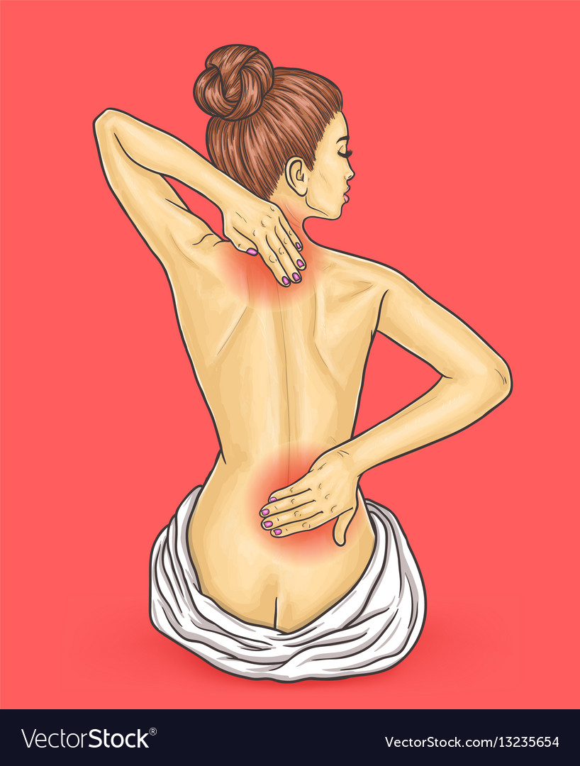 Pop art beautiful young woman with back pain