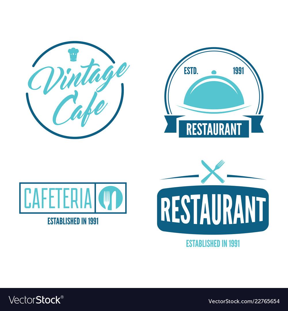 Restaurant logos badges and labels design