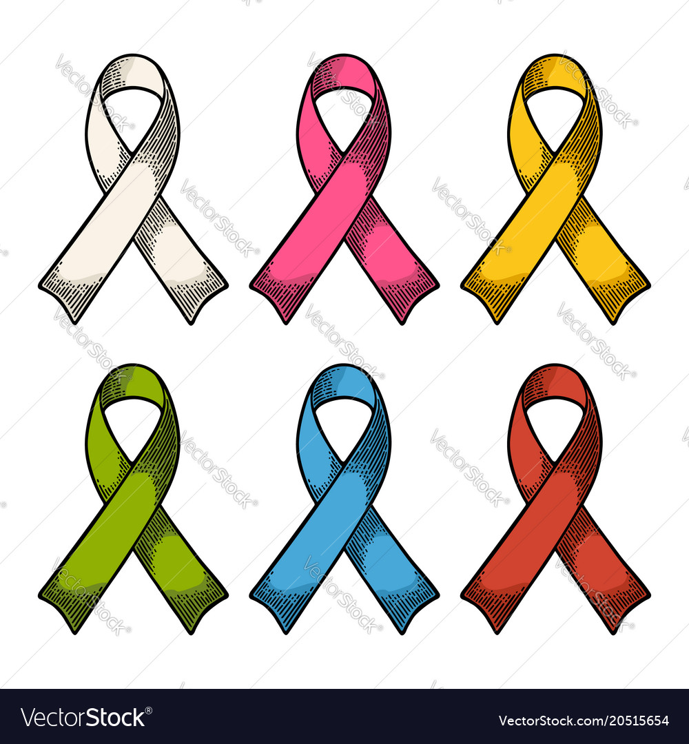 Set color ribbons aids awareness isolated on white