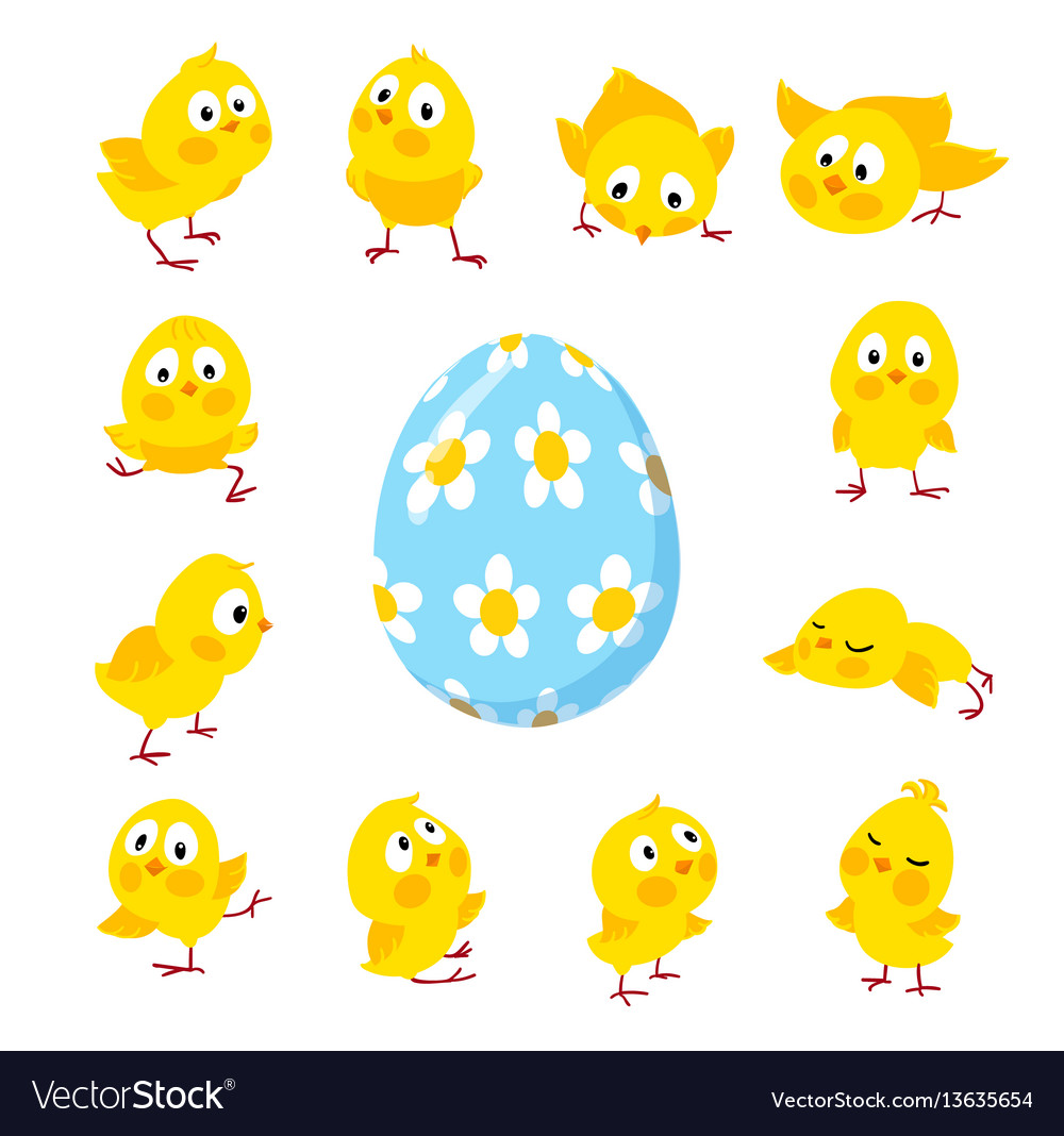 Set of funny easter chickens and egg