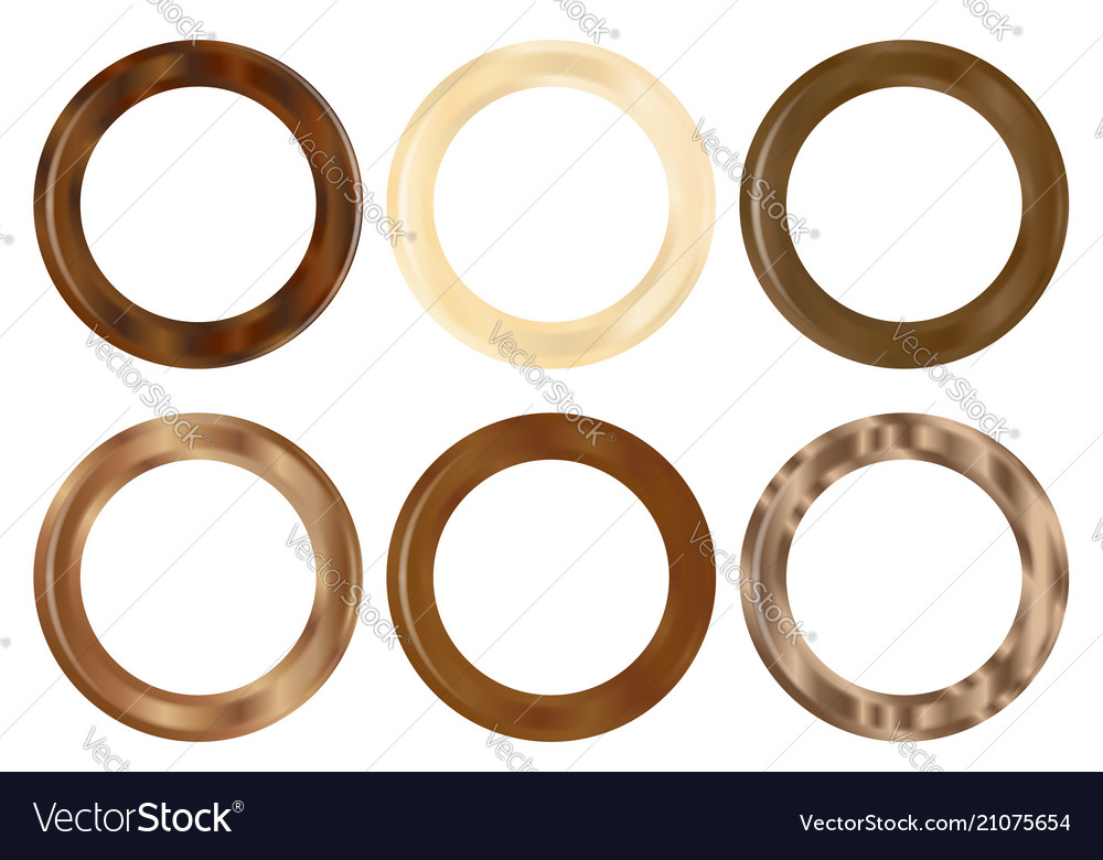 Six Wooden Curtain Rings Vector Image
